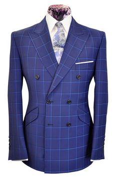The Mollison Persian Blue Suit with Sapphire Blue Windowpane Check Dress Suits For Men, Suit And Tie, Men Dress, Mens Fashion Suits, Mens Suits, Groom Suits, Groom Attire, Suit Combinations, Elegant Man