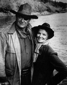 "John Wayne and Katherine Hepburn              ""Rooster Cogburn"""