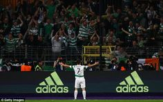 Sept. 27th. 2017: Celtic's Patrick Roberts celebrates in front of the away support after scoring the second goal in a 3-0 win over Anderlecht in a Champions League group tie