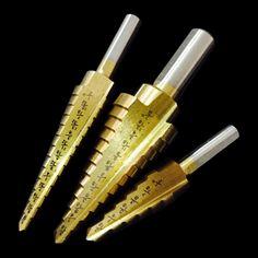 3Pcs HSS Steel Titanium Step Drill Bit DIY Step Cone Woodworking Wood Metal Cutting Drilling Tools Kits Set #Affiliate