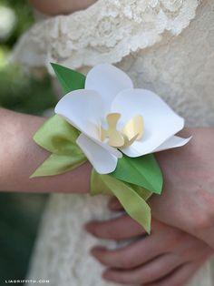 Paper Orchid Wrist Corsage