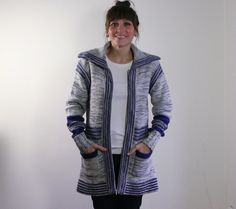 70s hippie stripe zip up white and blue knit by dustyrosevintage, $50.00