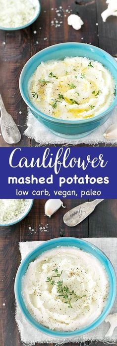 Healthy Cauliflower Mashed Potatoes - a creamy, delicious, and healthy alternative to traditional mashed potatoes. Only 96 calories per serving! low carb, low calorie, paleo and vegan