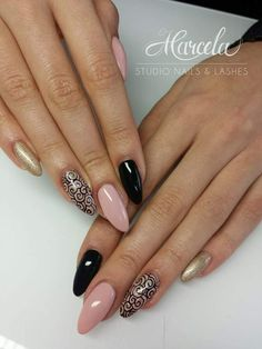 Gel Polish Chic Nude + Oh My Gold + Mr.Black by Dominika from Marcela Studio Nails & Lashes  #nails #nails #black #gold #glitter #nude #pink #powder