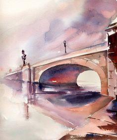 Original Watercolor Painting of Cityscape with Bridge, Watercolour Art, Purple Orange by CanotStop on Etsy
