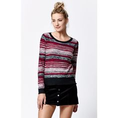 Vans Darca Stripe Pullover Sweater (205 BRL) ❤ liked on Polyvore featuring tops, sweaters, striped crew neck sweater, striped crewneck sweater, pullover tops, stripe sweater and striped sweater