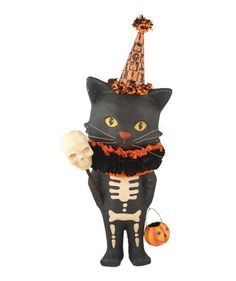 Sourpuss is in a gloomy mood, he wants more candy mice and rats. But It's just to bad. His hooligan brother already ate every last one! Sourpuss is an impressive paper mache Halloween cat with a grima