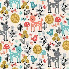 Acorn Forest Fabric by Robert Kaufman Sobert Forest Animals Cute Deer Birds and Butterflies