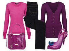 Tmavě modré džíny, F růžový svetr Limited, Marks propínací fialový