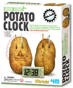 This time it's OK to play with your food! Find the Green Science Potato Clock Science Kit at the Roberson Museum and Science Center Gift Shop.
