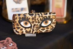 Glasses Case with Bag Holder - Leo Print with Eyes & hook in gold