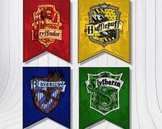 Printable Hogwarts Banners Harry Potter Gryffindor Ravenclaw Hufflepuff Slytherin