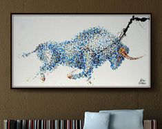 """Painting Animal BULL 67"""" oil painting on canvas, thick oil layers, Luxury looks, Express shipping, q By Koby Feldmos"""