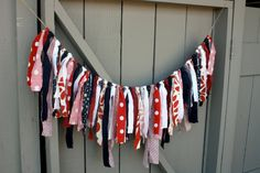 Patriotic Fabric Bunting, Red White and Blue Rag Tie Garland, Party Decor, Photo Prop, Country Chic, Rustic Americana Banner, July 4th Decor on Etsy, $35.00