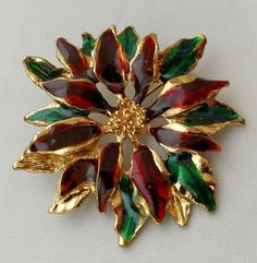 Poinsettia Christmas Brooch Pin High Gloss Red Green Enamel Gold tone Finish  | eBay