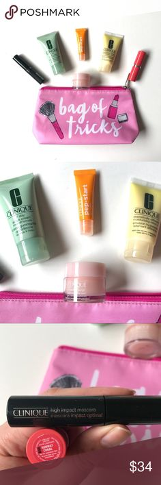 Clinique Full Travel Kit Clinique full travel kit with 'Bag of Tricks' cosmetic bag. Includes: Clinique 7 day scrub cream, dramatically different moisturizing cream, Pep-Start under eye cream, Hydrating moisture surge, Runway Coral full size Lipstick, high impact Mascara. Perfect for travel or full touchup after a long flight. Clinique Makeup