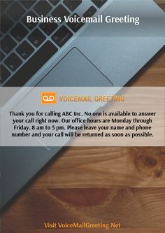 Voicemail greeting samples voicemailgreet on pinterest find this pin and more on business voicemail greetings example by voicemailgreet m4hsunfo