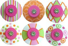 Set of 6 Pink Orange Green and White by LisaEverettDesigns on Etsy, $51.00. Lacie loves these :)