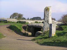 """Dolmen """"Les Pierres Plates"""", Bretagne. Ce monument, constitué d'une allée couverte recouverte d'un cairn, mesure 26 m du nord au sud et il est taillé dans du granit. Il comptait 70 dalles dont 50 subsistent aujourd'hui."""