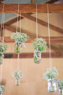 Hanging baby's breath and mason jars- rustic wedding decorations