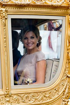 Queen Maxima of The Netherlands arrives back at The Noordeinde Palace in The Golden Carriage during Prinsjesdag (Prince's Day) on September 15, 2015 in The Hague, Netherlands.
