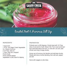 Roasted Beet & Hummus Dill Dip, made with all new Sager Creek Vegetable Company Hummus. #recipe