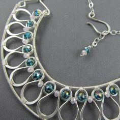 Stunning! woven wire jewelry | Silver Wire Woven Collar Necklace with Aqua Crystals ...