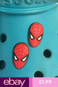 2 Spiderman Face Shoe Charms For Crocs /& Jibbitz Wristbands Free UK P/&P.