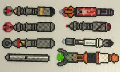 Sonic screwdrivers - Doctor Who perler bead collection by Terri Mitchell