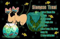 Siamese Treat (moscato wine, vodka, blue curacao, pineapple juice, sprite, lemon, lime and orange slices, gummy fish, gold fish bowl)