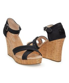0cb851e9f1d5 Loving this Black Canvas Wedge on  zulily!  zulilyfinds Strappy Wedges