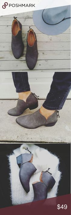 //The Taylor// Charcoal grey cutout ankle bootie Brand new Never been worn Comes in original box No trades!! Price is frim!! Many more sizes Available True to size!! Man made materials Vegan suede Shoes Ankle Boots & Booties