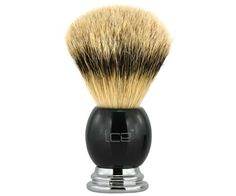 The Ice Black Best Badger brush. All badger, but a higher bristle count using the softest, finest badger hair. A dense brush that produces a thick lather. Available at House of Knives. Shaving Brush, Wet Shaving, Best Shave, Brushes, Knives, Count, Chrome, Ice