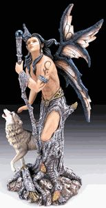 """Male Fairy with Wolf Figurine- 10 1/2""""   Missi's Things"""