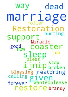 Marriage Restoration Miracle -  Thank you God that she is in contact with me again. Thank you for calling me to stand for my marriage. Thank you for all of those that have prayed and given support to me. Thank you for restoring my marriage. Please stop this roller coaster now and make a way Lord forever. Please bless Brandy with good sleep. Thank you for blessing her with the job she wanted.�Please restore all broken, dead, hurting marriages. IJNIP Amen  Posted at…