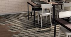 Marca Corona also combined coloured porcelain stoneware tiles in the Cubo design with its wood-look Atelier tile in beige. Brick Flooring, Wooden Flooring, Floor Design, Tile Design, Floor Art, Tile Floor, Porcelain Hexagon Tile, Hexagon Tiles, Tiles For Less