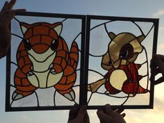 Stained glass Sandshrew and Cubone by cram6 on deviantART