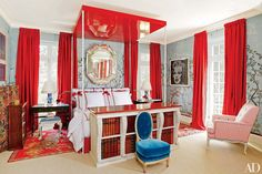 Living Room : Miles Redd Decorates an Eclectic Houston Mansion : Architectural Digest Architectural Digest, Next Bedroom, Master Bedroom, Blue Bedroom, Red Bedrooms, Room Colors, Modern Bedroom, Eclectic Bedrooms, Room Decor