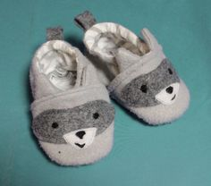 Racoon Baby Shoes Animal Booties Felt by littlesurprisesblog