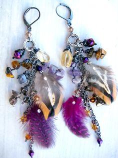 Bohemian Feather Duster Earrings #bohemian ☮k☮ #boho #gypsy