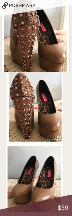 """Betsey Johnson Platform Wedges Pumps Studs Spikes Betsey Johnson Latona. Excellent Condition! Worn once. Easy to wear considering the height. Heel 6"""" with 2"""" platform. Copper glitter and studs covers the back. Stunning on. I just have no where to wear them😞. Size 8 Betsey Johnson Shoes Platforms"""