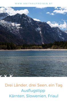 Wo Kärnten, Friaul und Slowenien aneinandergrenzen, ist auch der nächste See nicht weit entfernt. Aber warum sich nur für einen entscheiden, wenn man an einen Tag gleich Drei erleben kann? Ausflugstipp am Wasser – mit Videos. #reisen #kärnten #tagesausflug #italien #friaul #slowenien #seen #bled #faaker #predil #raibler #berge #alpen #tipps #urlaub #reisen #sehenswürdigkeiten Reisen In Europa, Trail, Mountains, Seen, Nature, Travel Europe, Inspiration, Spain Travel, Vacation Travel