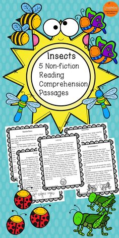 These engaging reading comprehension passages for grades 1-3 and homeschool can be used in your class to help your students with reading comprehension skills as well as with test taking skills.  Please take a preview peek!   Included: 5 engaging passages with 4 multiple choice questions and 2 written responses.  Bumblebees Butterflies Dragonflies Grasshoppers Ladybugs