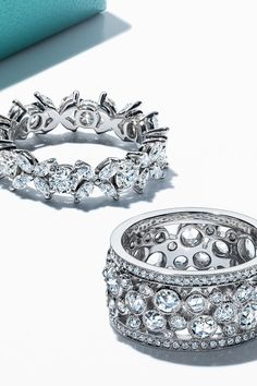 A perfect match for the perfect pair. Tiffany Victoria® alternating band ring and Tiffany Cobblestone band ring in platinum with diamonds. Tiffany & Co., Tiffany Wedding, Tiffany Engagement, Engagement Ring, Diamond Wedding Bands, Wedding Rings, Fashion Rings, Fashion Jewelry, Jewelry Accessories