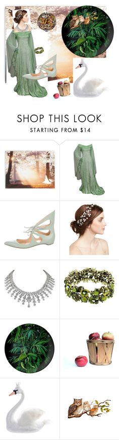"""""""The Isle of Avalon"""" by pixiecatcaravancreations ❤ liked on Polyvore featuring Graham & Brown, Alejandro Ingelmo, Jennifer Behr, Harrods and Evergreen"""