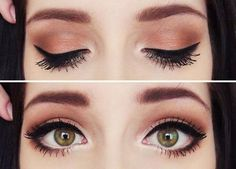 when I start wearing makeup im gonna start with eyeliner. I love the way this looks (Best Eyeliner For Contacts) Pretty Eye Makeup, Love Makeup, Makeup Inspo, Makeup Tips, Makeup Looks, Simple Makeup, Pretty Eyes, Beautiful Eyes, Doe Eye Makeup
