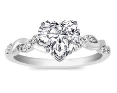 Fancy - Engagement Ring - Heart Shape Diamond Petite twisted pave band Engagement Ring in 14K White Gold - ES873HSWG