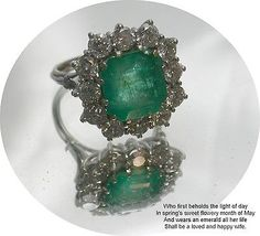 Vintage 18Carat White Gold Emerald & Diamond Dress Ring 5.55ct E /2.5 ct D Q1/2