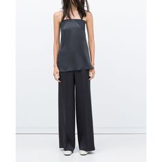 STUDIO WIDE - LEG SILK SATIN TROUSERS - View all - Trousers - WOMAN |... (£60) via Polyvore