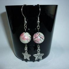Paire de boucles d'oreilles pendantes perles rondes roses + étoiles DIY